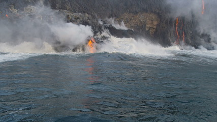 Steam Rising Volcanic Lava Hawaii