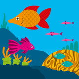 Vector Cute Cartoon Fishes On A Coral Reef Scene
