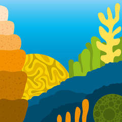 Vector Cute Cartoon Abstract Coral Reef Scene