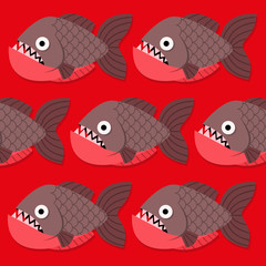 Vector Funny Cartoon Shoal Of Pirahnas On Red Water