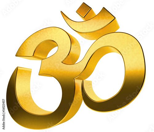 3D gold hindu sign isolated on white background.