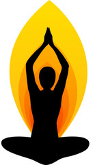 Yoga asana on flame background