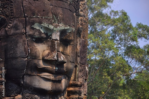 Old Cambodian temple with buddha face
