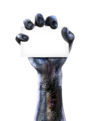 Zombie hand holding a black advertisment card