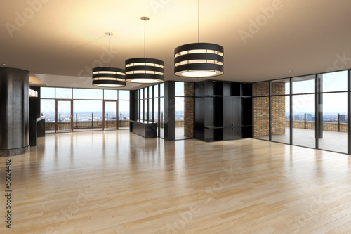 Empty room of business or residence with city background. - 56124482
