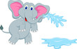funny elephant cartoon blowing water out of his trunk