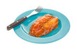 Smoked herring in tomato sauce on dish with fork