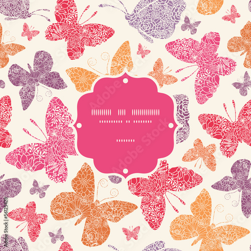 Vector floral butterflies frame seamless pattern background with