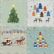 Four square retro christmas cards