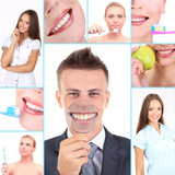 Collage of photographs on the theme of healthy teeth - 56126284