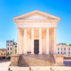 La Maison Carree roman temple landmark. Nimes, France.