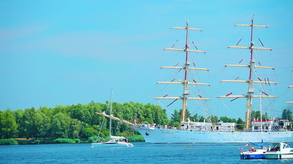 Sailing ship at sunny summer day, beautiful large tall ship