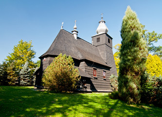 Wooden 17th Century Church in Srednia Wies in Poland, Bieszczady
