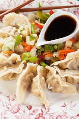 Asian dumplings with vegetable and soy sauce
