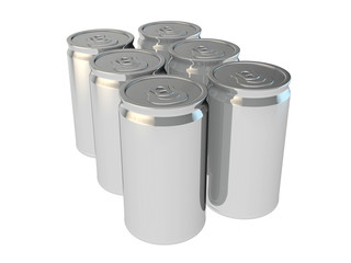 6 pack of silver aluminium cans