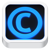 Copyright luminous icon