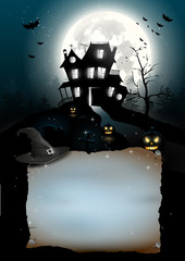 Scary house in the woods - Halloween poster
