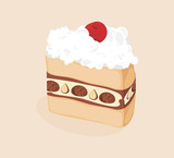 Piece of cake isolated on the beige background
