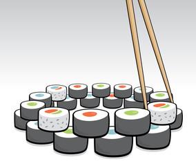 Chopsticks grabbing some sushi