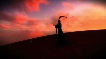 Reaper heading toward a town or village