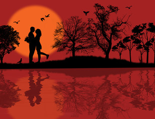 Romantic couple silhouette embrace
