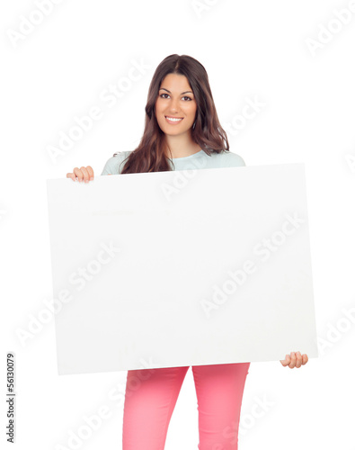 Attractive girl with blank placard