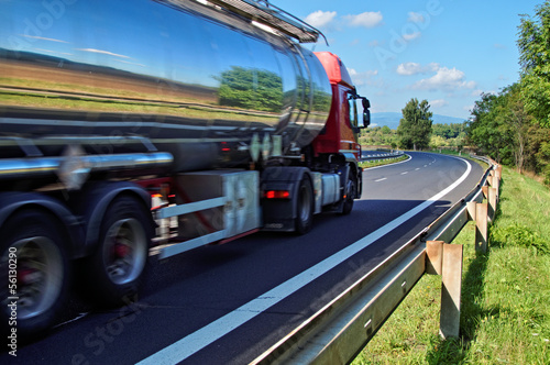 Mirroring the landscape chrome tank truck