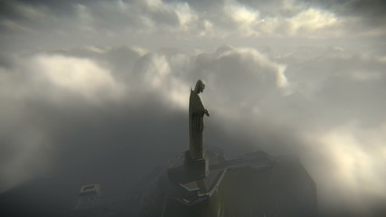 Aerial shots of the Christ the Redeemer statue in Rio de Janeiro