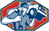 Automotive Mechanic Car Repair Retro