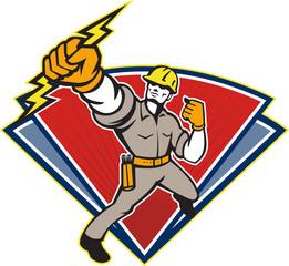 Electrician Punching Lightning Bolt
