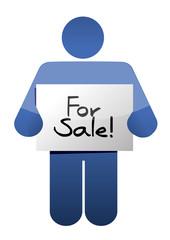 holding a for sale sign. illustration design