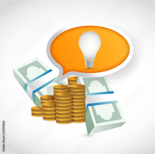 money idea light bulb concept illustration