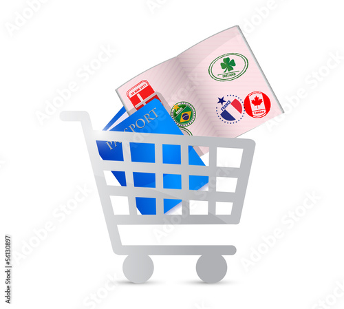 passport and shopping cart illustration