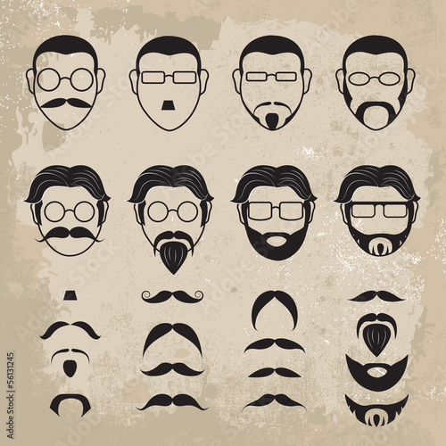 Human Faces With Various Additions On Brown Background