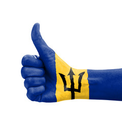 Hand with thumb up, Barbados flag painted