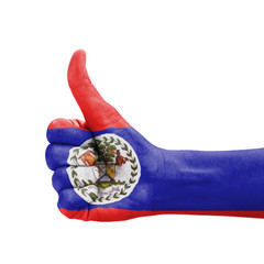 Hand with thumb up, Belize flag painted