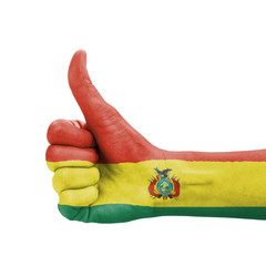 Hand with thumb up, Bolivia flag painted