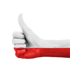 Hand with thumb up, Poland flag painted
