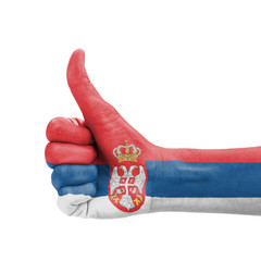 Hand with thumb up, Serbia flag painted