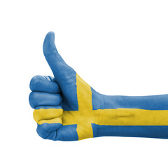 Hand with thumb up, Sweden flag painted