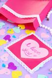 Beautiful composition of paper valentines and decorations