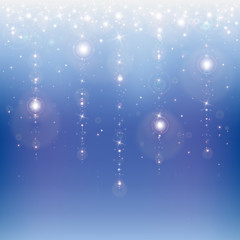 Star rain on a blue abstract background