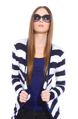 young woman in stripy shirt with sunglasses