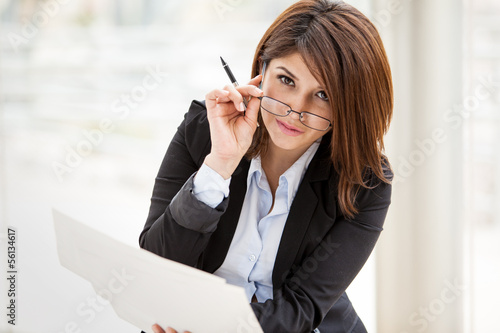 Gorgeous businesswoman working