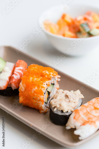 Sushi Assortment On White Dish