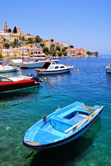 Boats along of the coast of the Greek island of Symi