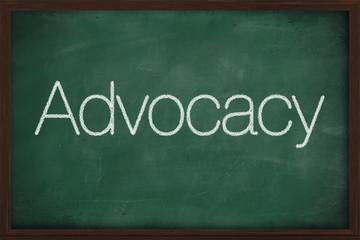 The word Advocacy handwritten