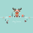 Sitting Christmas Reindeer Gift & Symbols Retro
