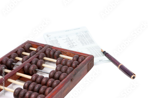 bank passbook with abacus and fountain pen