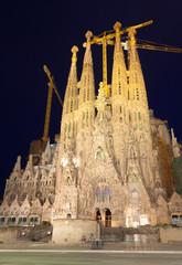 Sagrada Familia in night. Barcelona, Spain